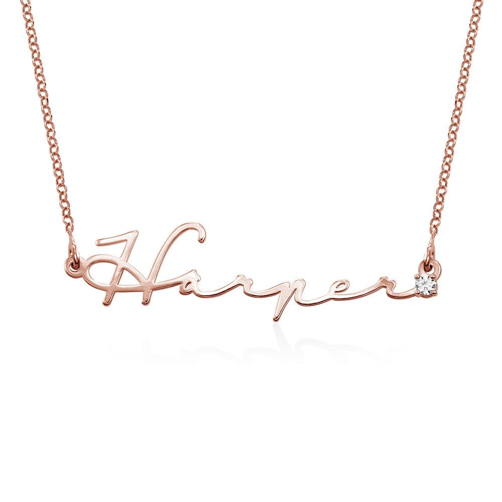 Collier prénom style signature - plaqué or rose avec diamant