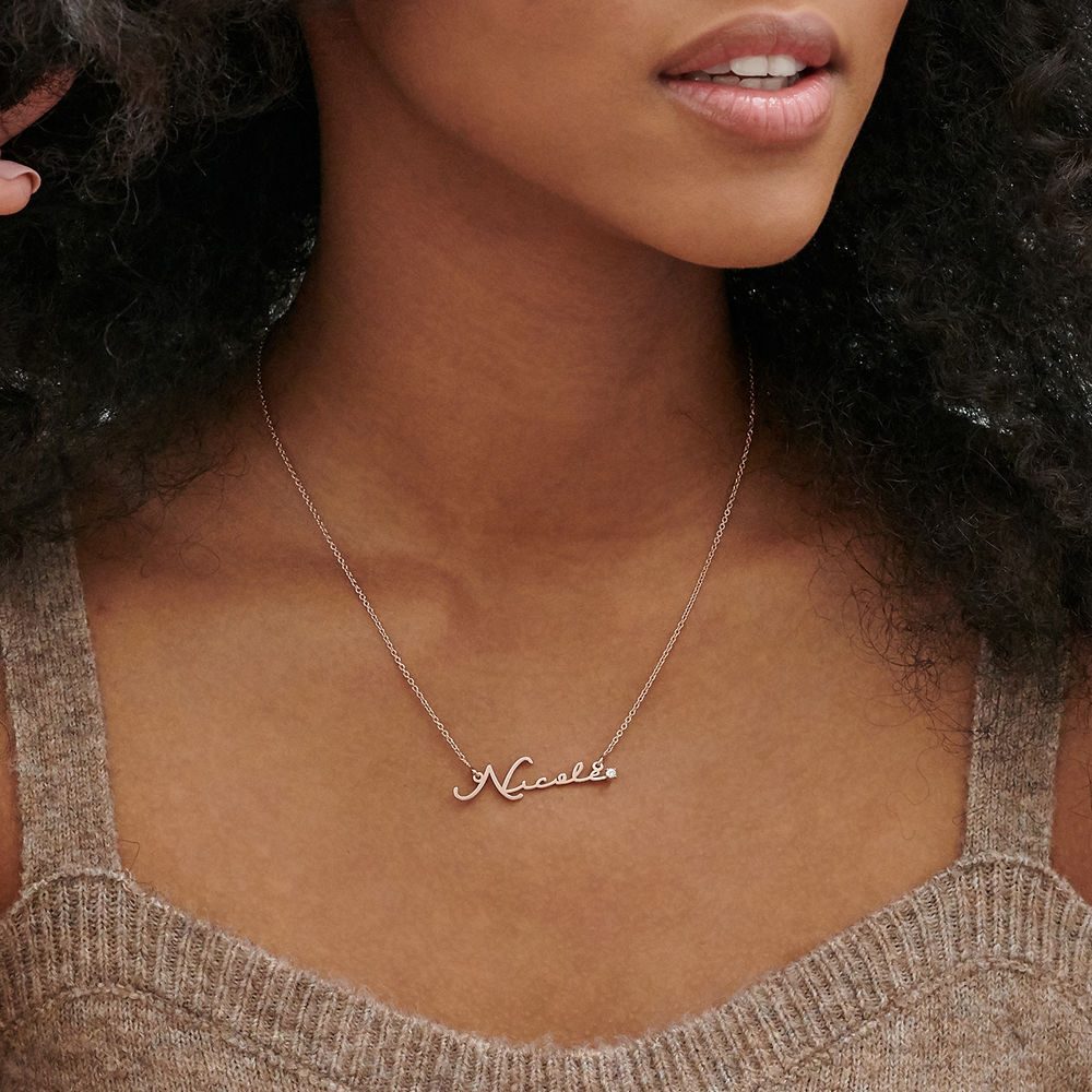 Collier prénom style signature - plaqué or rose avec diamant - 2