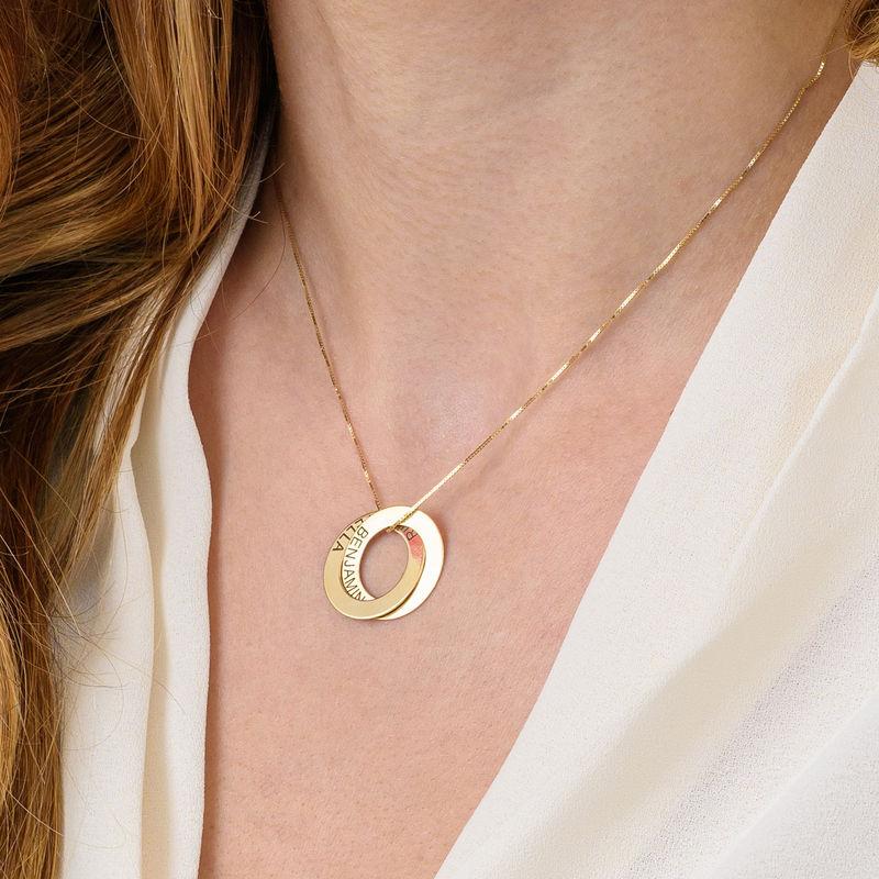 Collier russe avec 2 anneaux gravés - plaqué or - 6