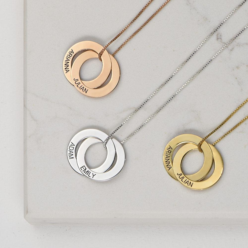 Collier russe avec 2 anneaux gravés - plaqué or rose - 1
