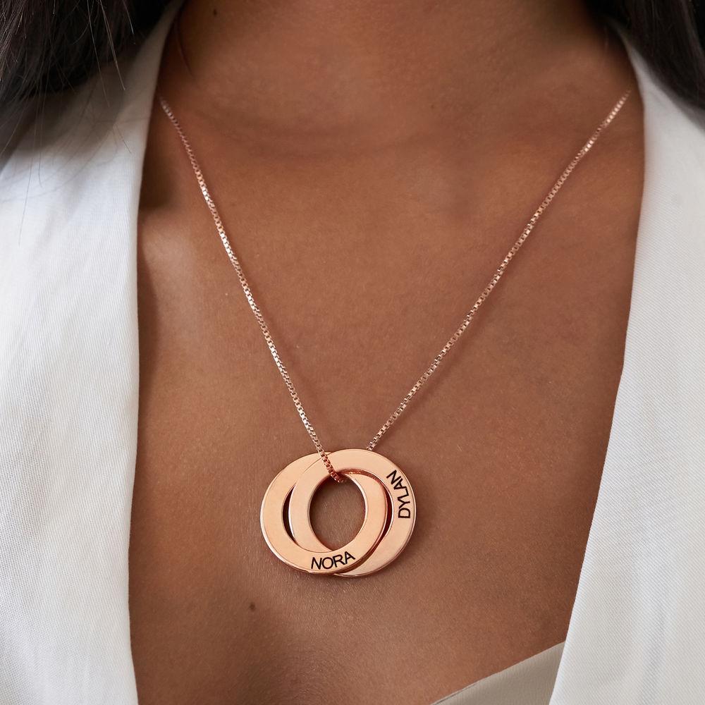 Collier russe avec 2 anneaux gravés - plaqué or rose - 3