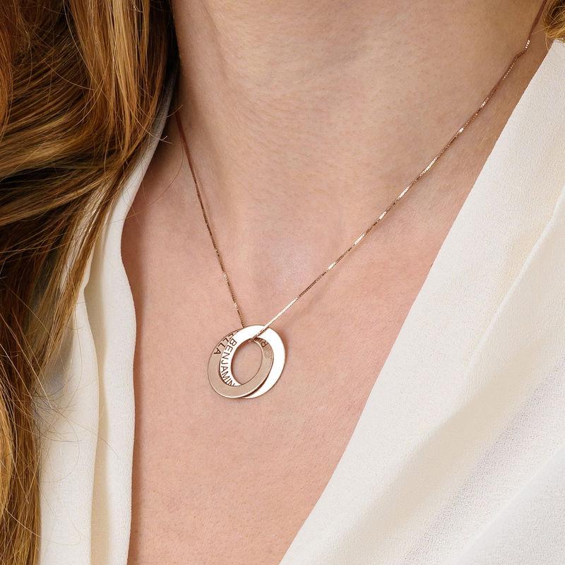 Collier russe avec 2 anneaux gravés - plaqué or rose - 5
