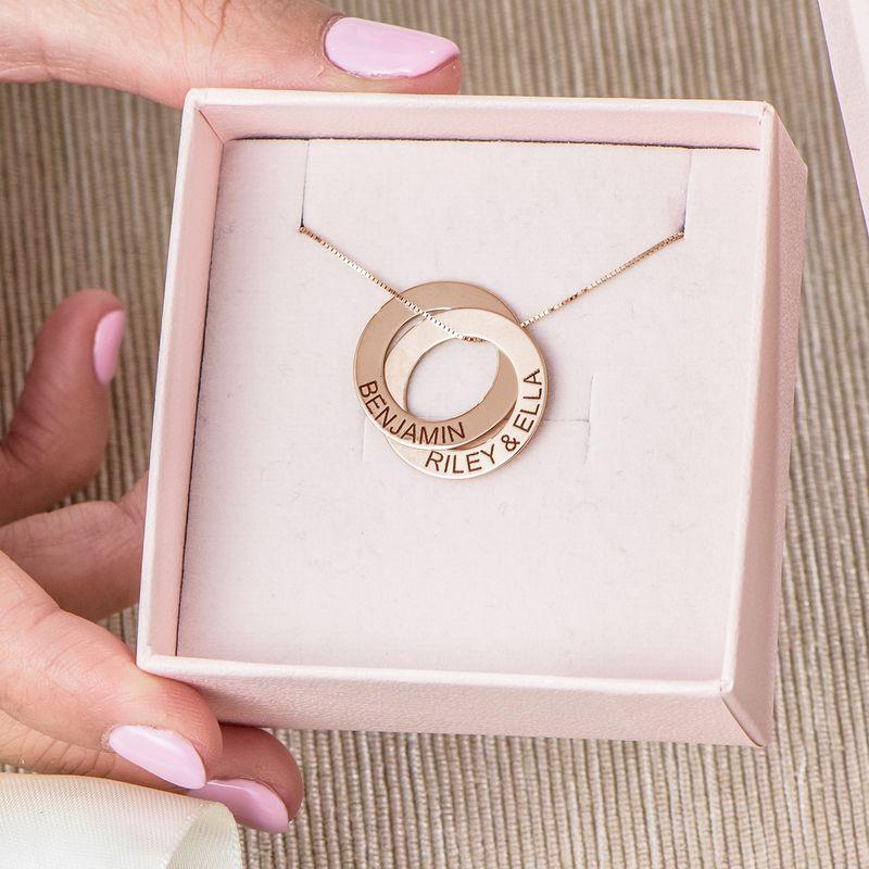 Collier russe avec 2 anneaux gravés - plaqué or rose - 6