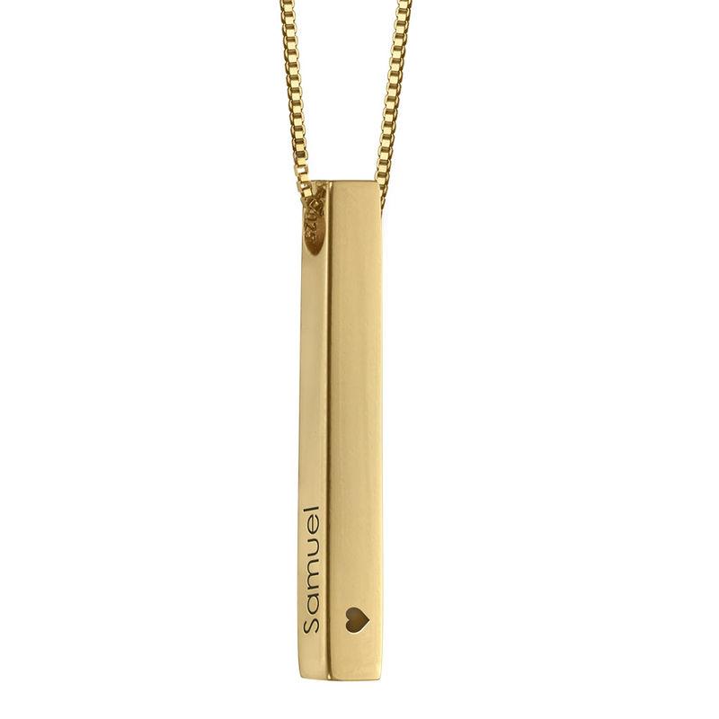 Collier avec Pendentif Barre Gravée 3D - Plaqué or - 2
