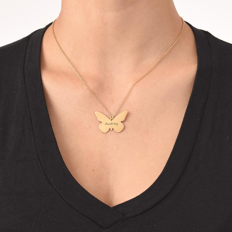 Collier Papillon Gravé Plaqué Or 18ct - 1