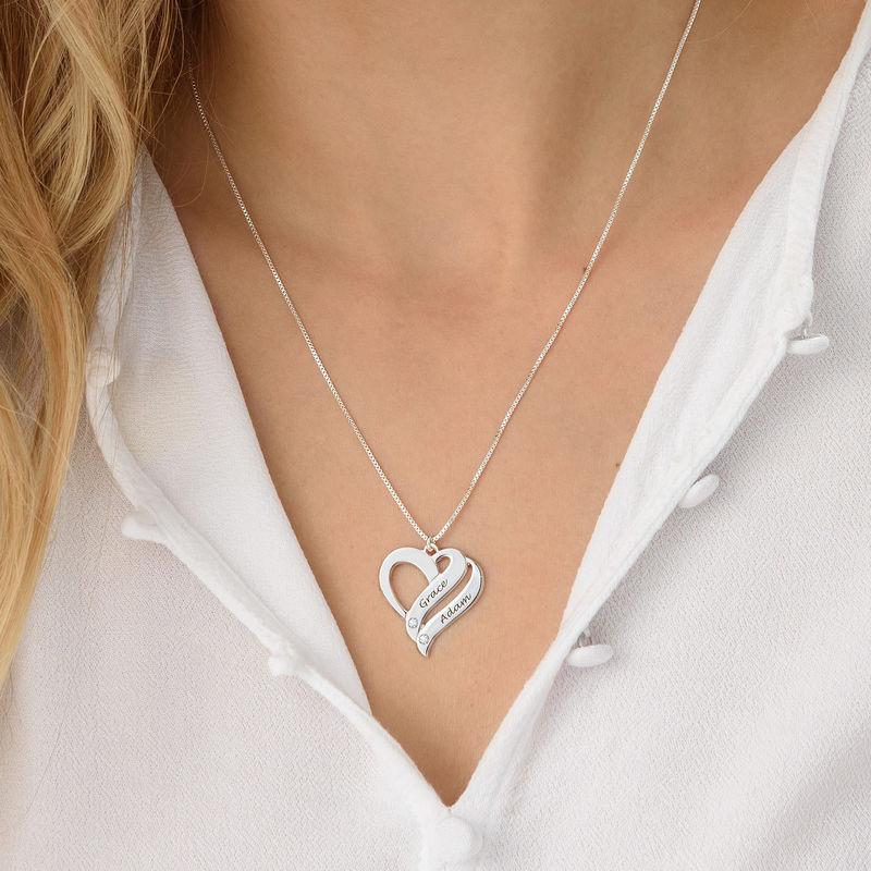 Collier en argent 925 avec diamant «Deux cœurs unis pour toujours» - 2