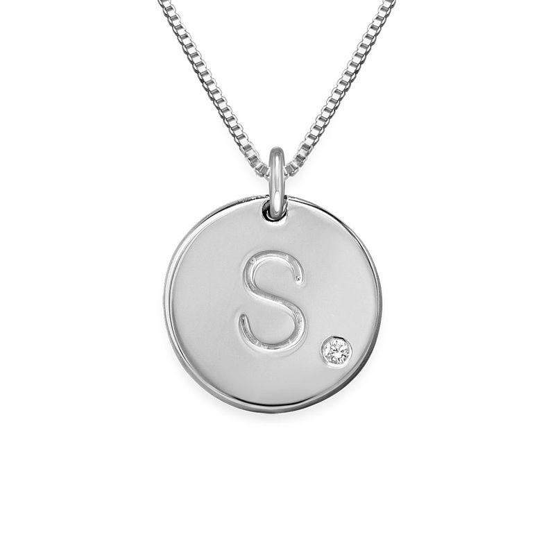 Collier Médaille en argent 925 avec diamant avec initiale gravée