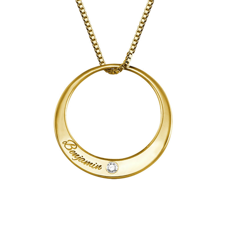 Collier cercle en plaqué or avec diamant - 1