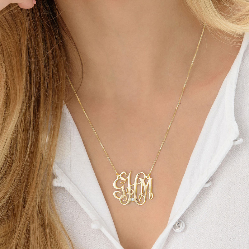 Collier monogramme célébrité en plaqué or avec diamant - 2