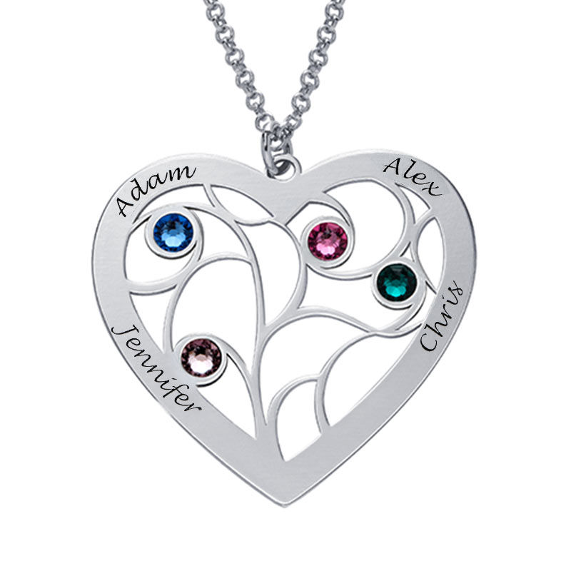 Collier cœur arbre de vie avec pierres de naissance en argent pour Mamie - 2