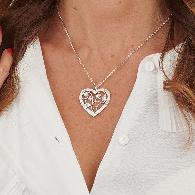 Collier cœur arbre de vie avec pierres de naissance en argent pour Mamie - 5