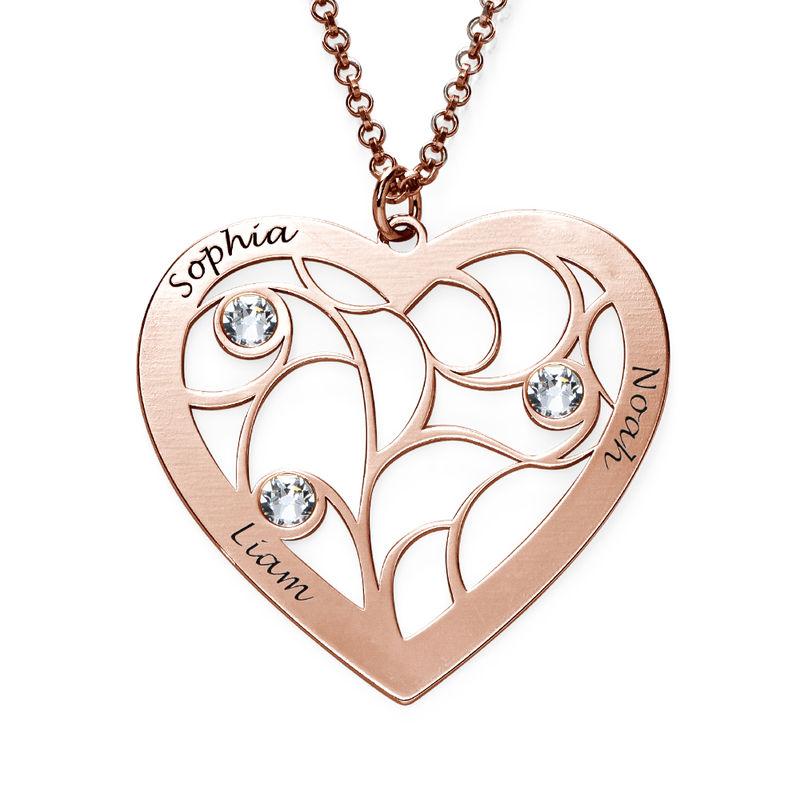 Collier cœur arbre de vie avec pierres de naissance en plaqué or rose pour Mamie - 1