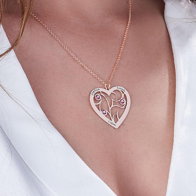 Collier cœur arbre de vie avec pierres de naissance en plaqué or rose pour Mamie - 5