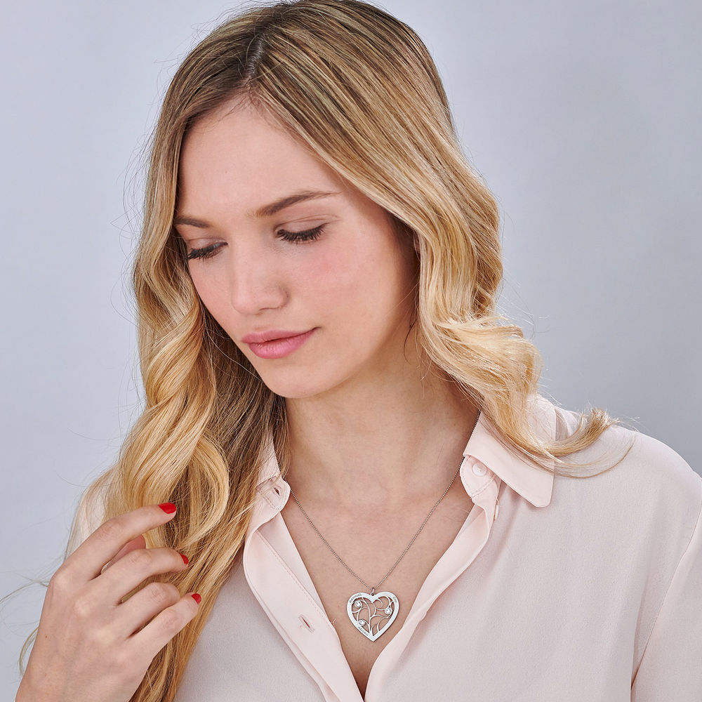 Collier cœur arbre de vie avec pierres de naissance en Or Blanc 10K - 1