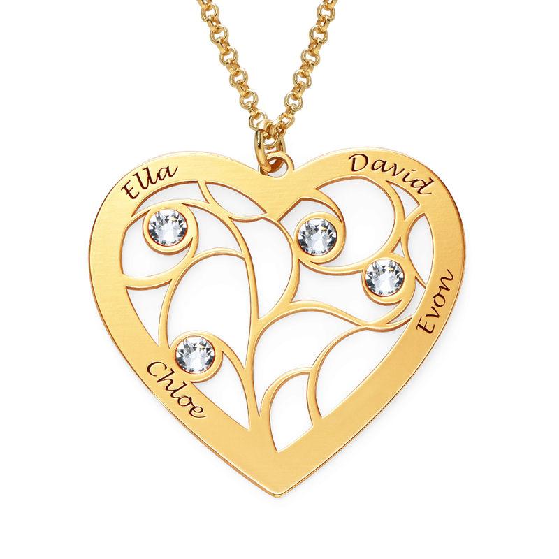 Collier cœur arbre de vie avec pierres de naissance en Or Vermeil pour Mamie - 1