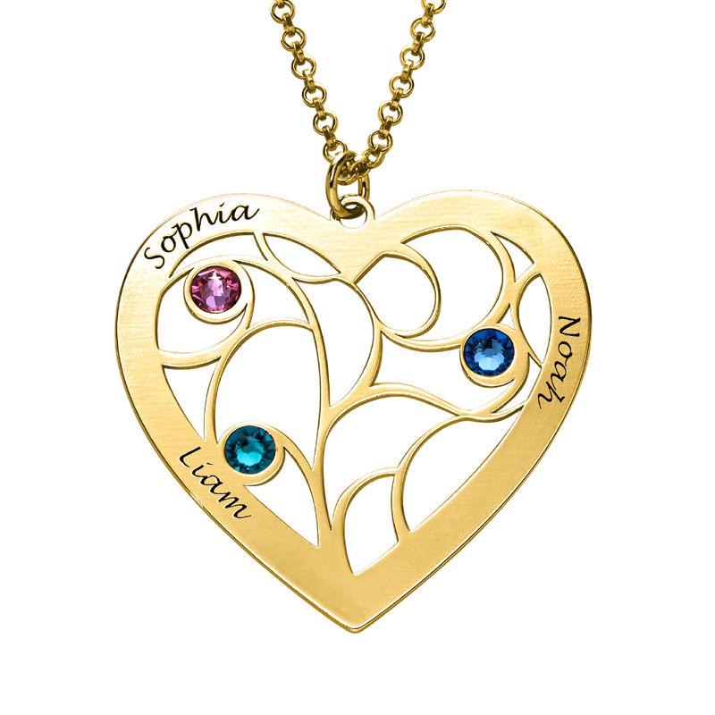 Collier cœur arbre de vie avec pierres de naissance en Or Vermeil pour Mamie - 2