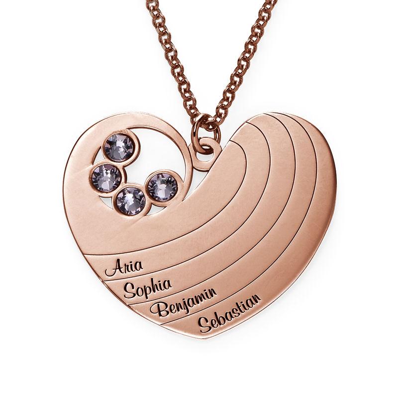 Collier cœur pour maman avec pierres de naissance en plaqué or rose - 1
