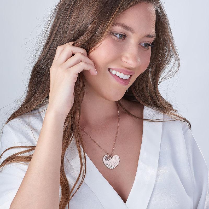 Collier cœur pour maman avec pierres de naissance en plaqué or rose - 2