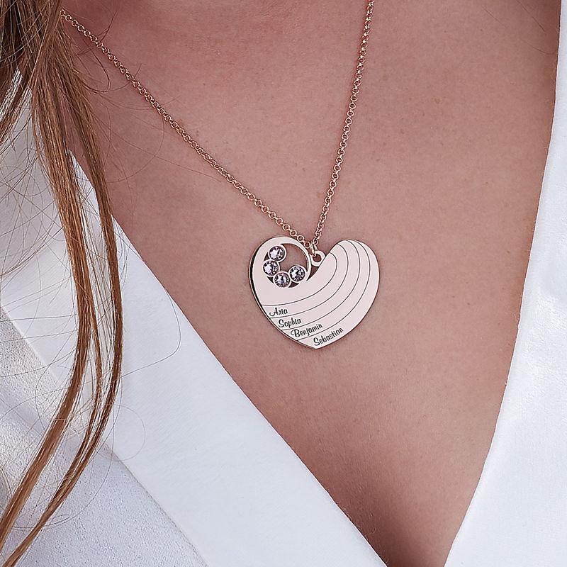 Collier cœur pour maman avec pierres de naissance en plaqué or rose - 3
