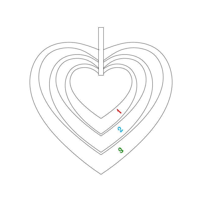 Collier cœurs famille avec Or 10K - 4