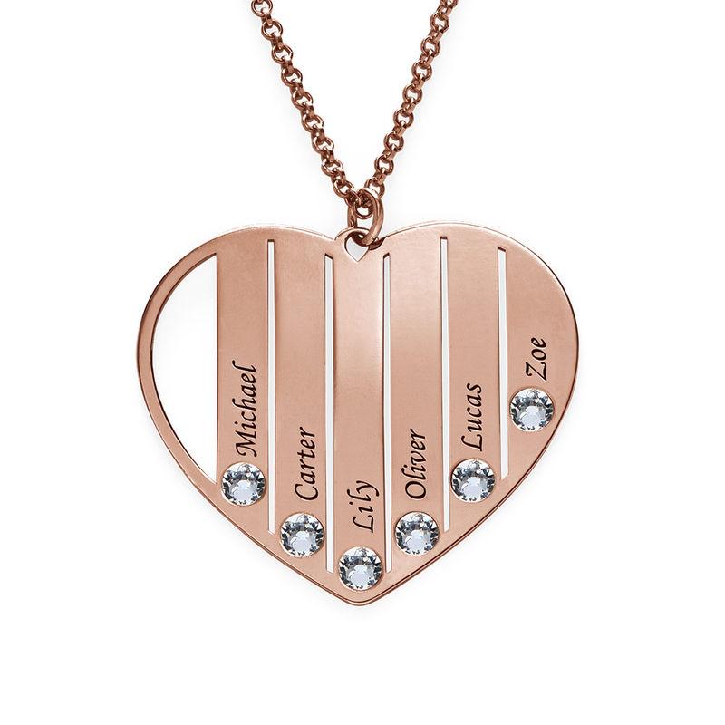 Collier pour maman avec pierres de naissance en plaqué or rose - 2