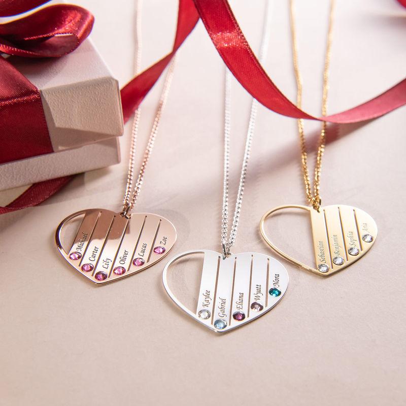 Collier pour maman avec pierres de naissance en plaqué or rose - 3
