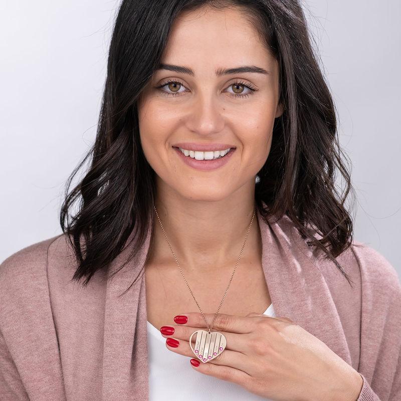 Collier pour maman avec pierres de naissance en plaqué or rose - 6