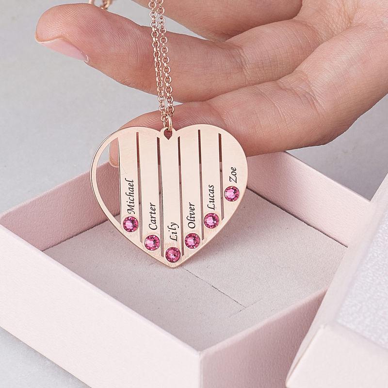 Collier pour maman avec pierres de naissance en plaqué or rose - 7