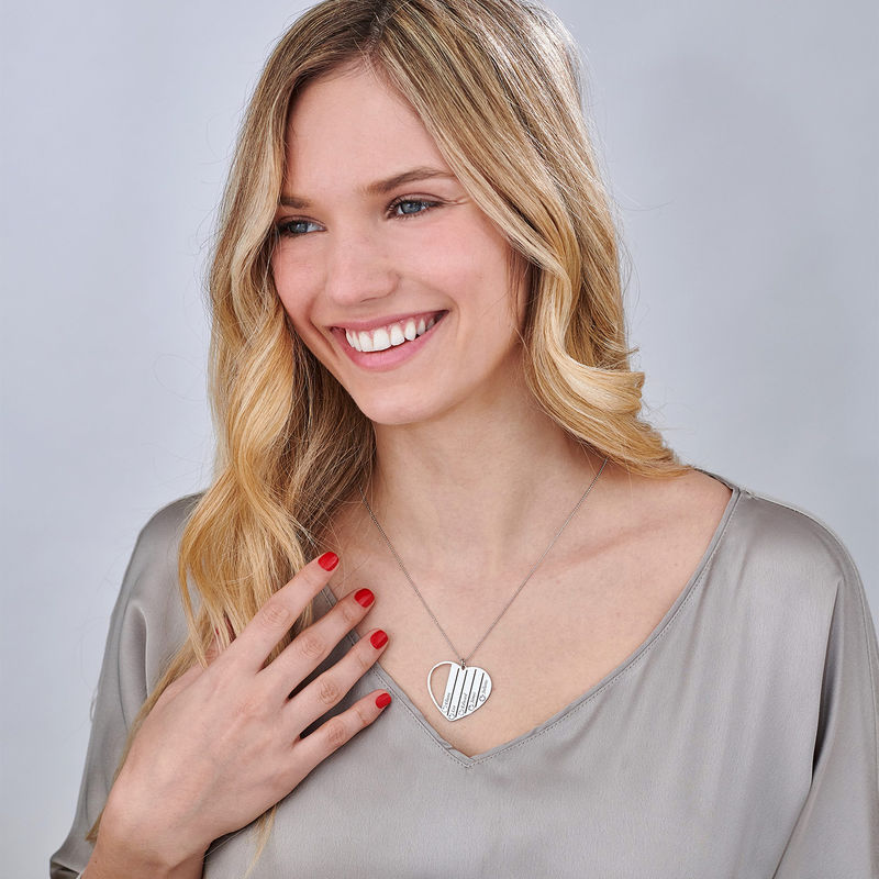 Collier pour maman avec pierres de naissance en Or Blanc 10k - 1