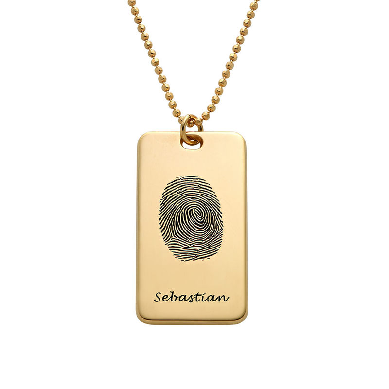 Collier Plaque Militaire avec Empreinte Digitale en plaqué or 18 carats