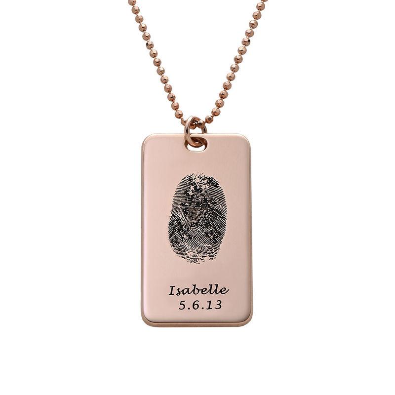 Collier Plaque Militaire avec Empreinte Digitale en plaqué or rose 18 carats