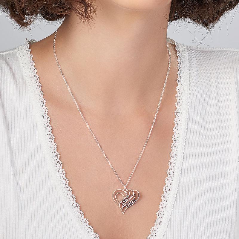 Collier cœur personnalisé en 3D en argent - 3