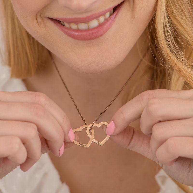 Collier Cœurs Entrelacés en Plaqué Or Rose 18 Carats - 3