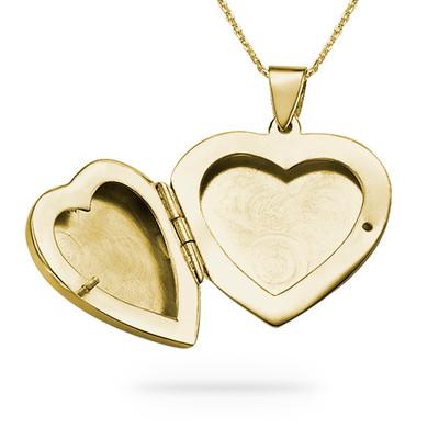 Collier Pendentif Coeur Porte-photo en Plaqué Or à graver - 1