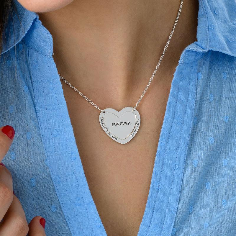 Collier double coeur en Argent - 3