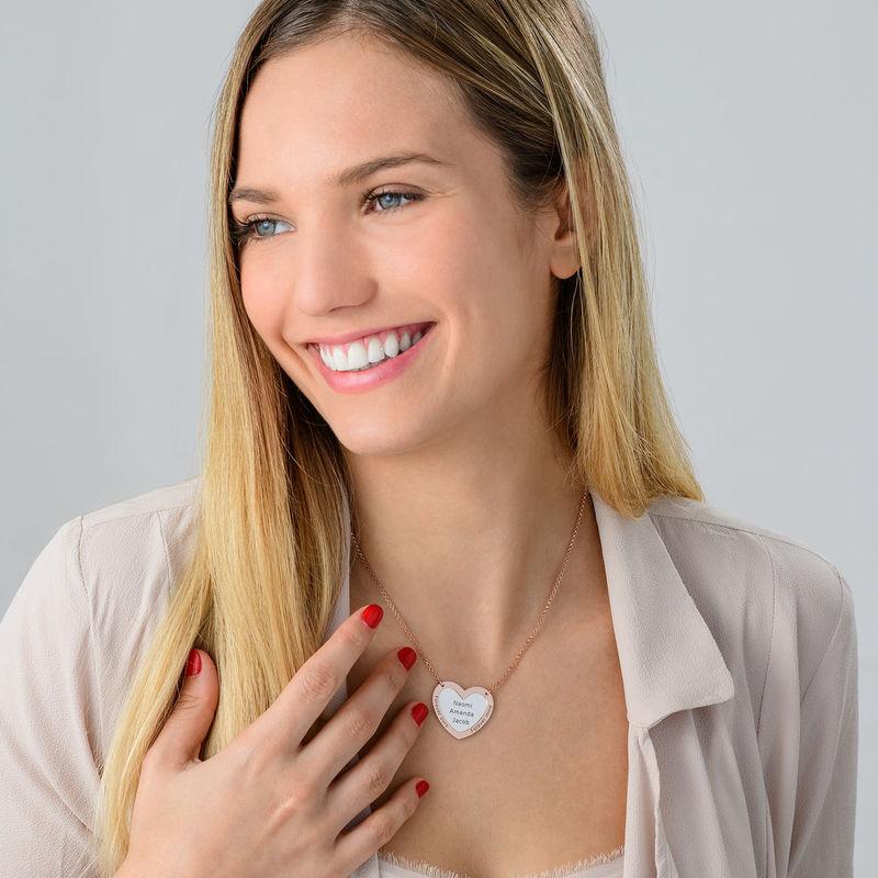 Collier double coeur en Argent et Plaqué Or Rose - 2