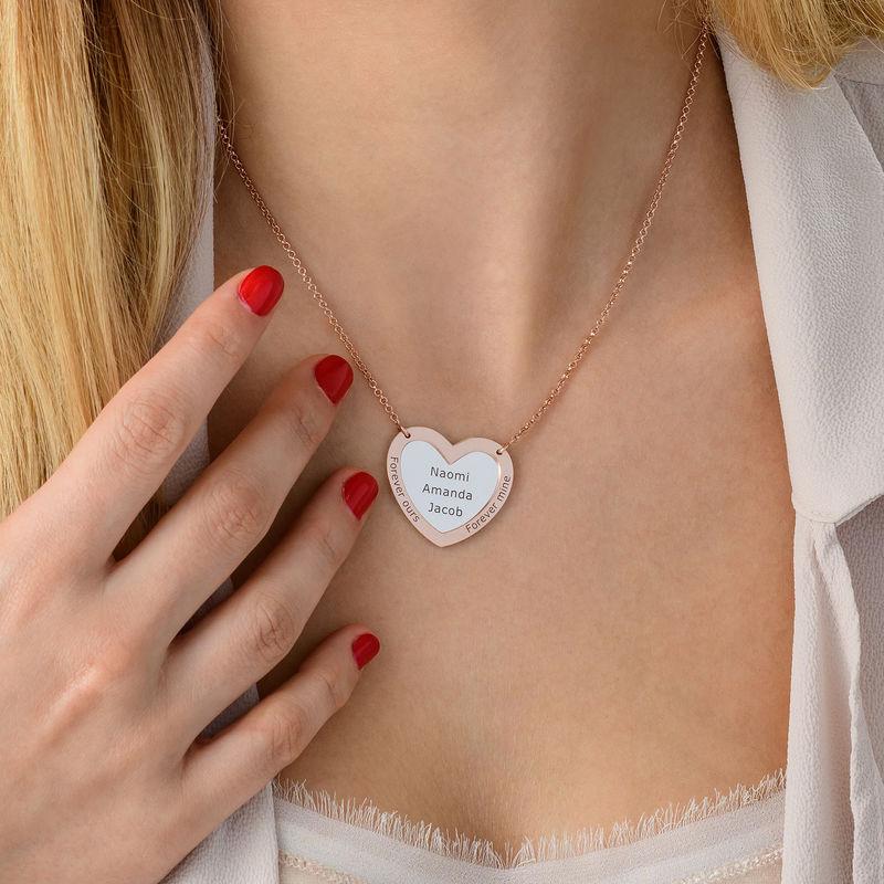Collier double coeur en Argent et Plaqué Or Rose - 3