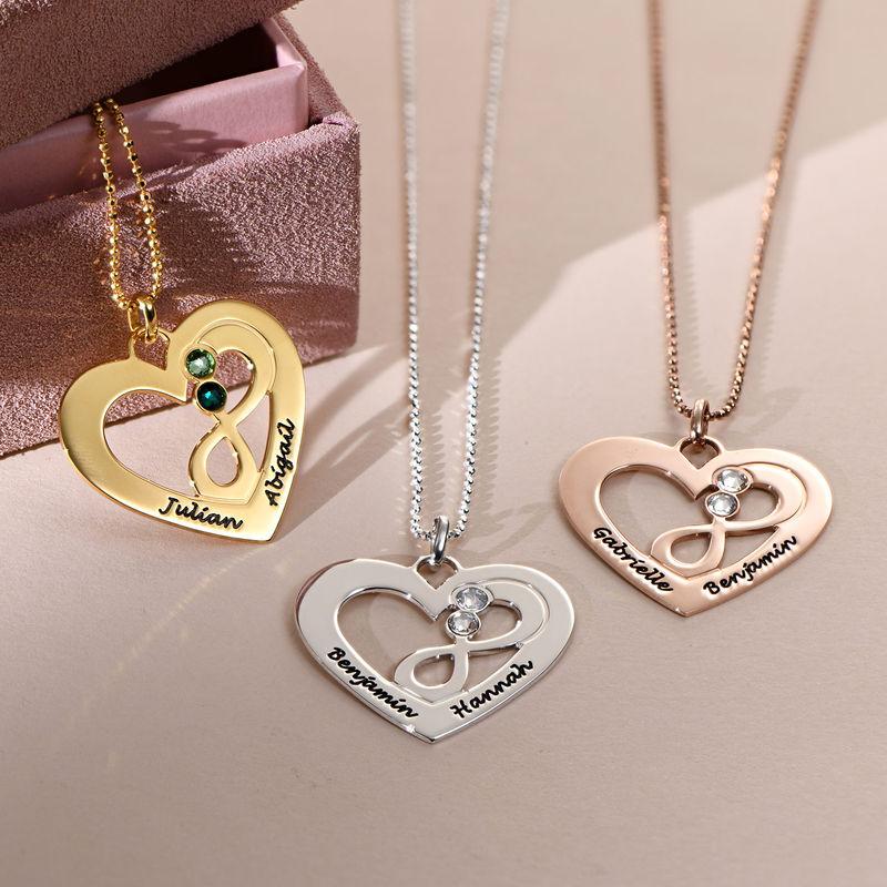 Collier coeur avec symbole infini en Plaqué Or - 1