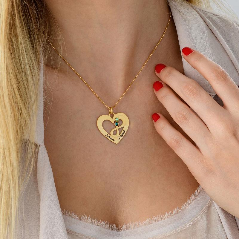 Collier coeur avec symbole infini en Plaqué Or - 3