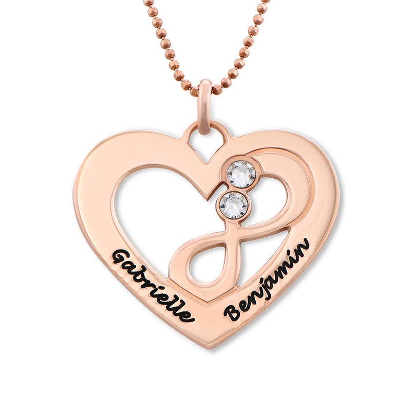 Collier coeur avec symbole infini en Plaqué Or Rose - 1