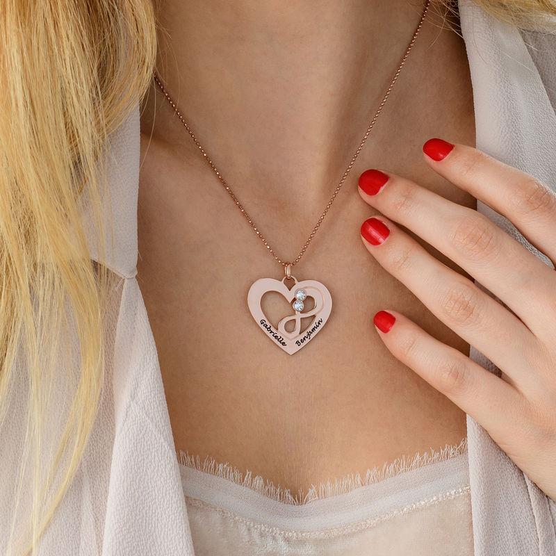 Collier coeur avec symbole infini en Plaqué Or Rose - 4