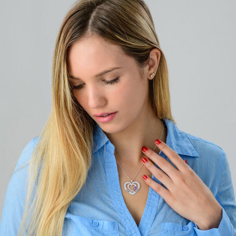 Collier coeur en Argent avec pierres de naissance - 2