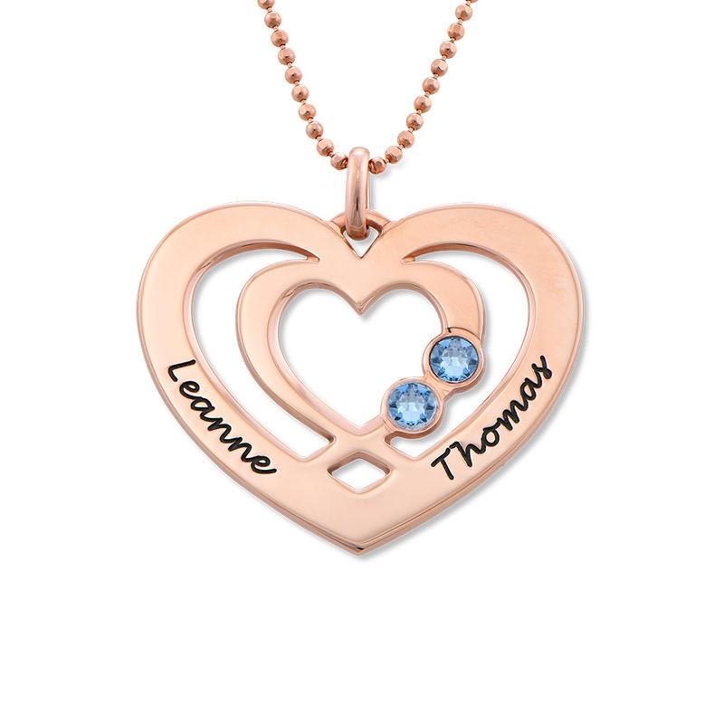 Collier coeur en Plaqué Or Rose avec pierres de naissance