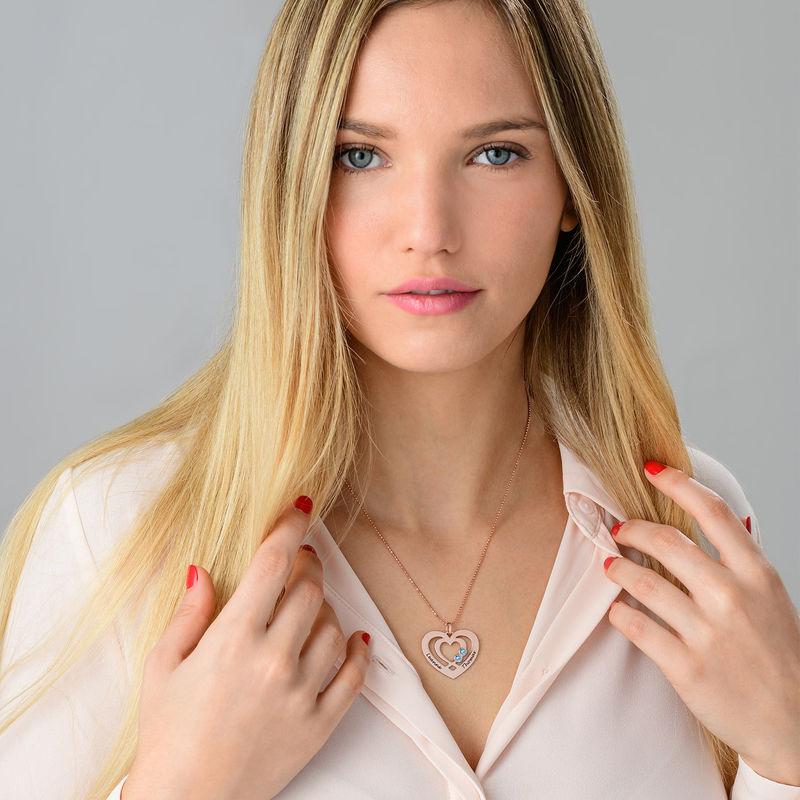 Collier coeur en Plaqué Or Rose avec pierres de naissance - 2