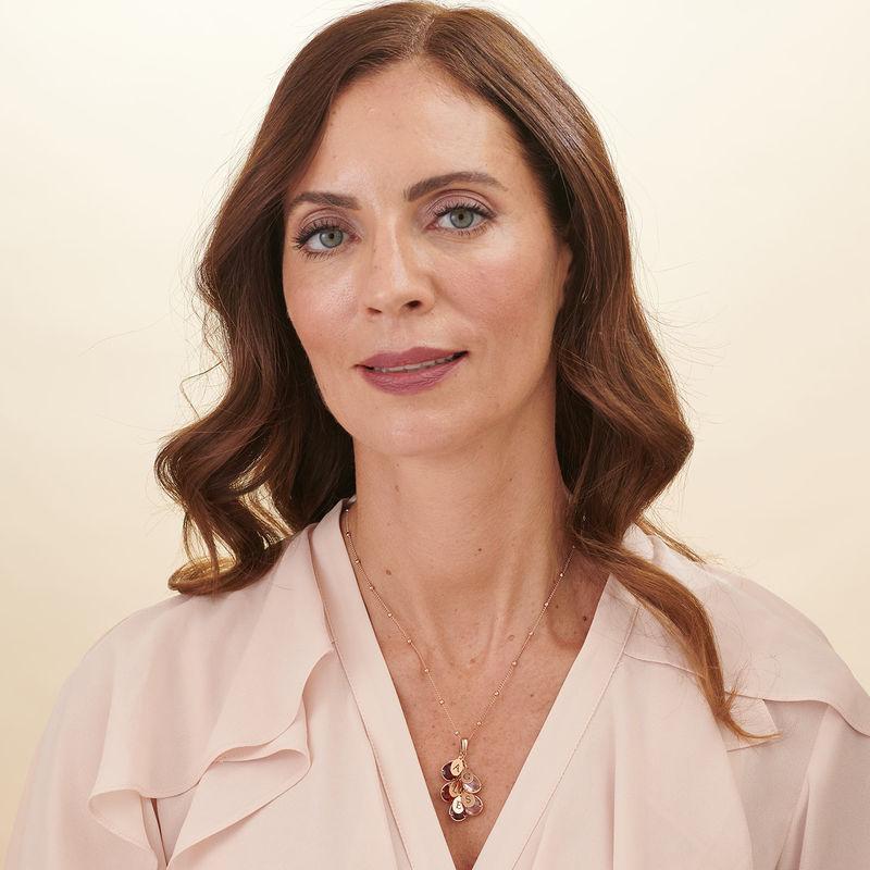 Collier personnalisé pour maman avec pierre de naissance - modèle goutte en Plaqué Or Rose - 4