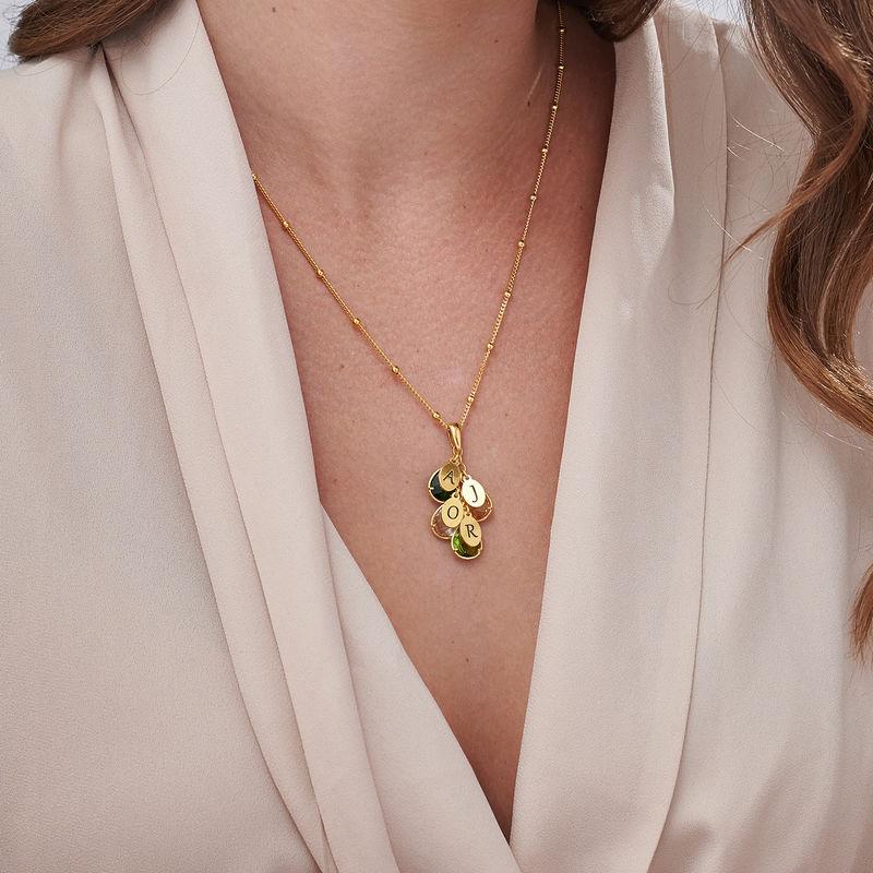 Collier personnalisé pour maman avec pierre de Naissance - modèle goutte en Or Vermeil - 2