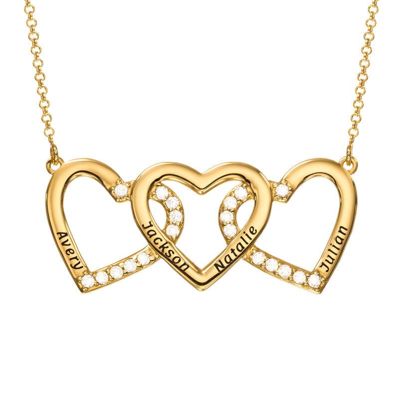 Collier Trois Cœurs Gravés en Vermeil d'Or