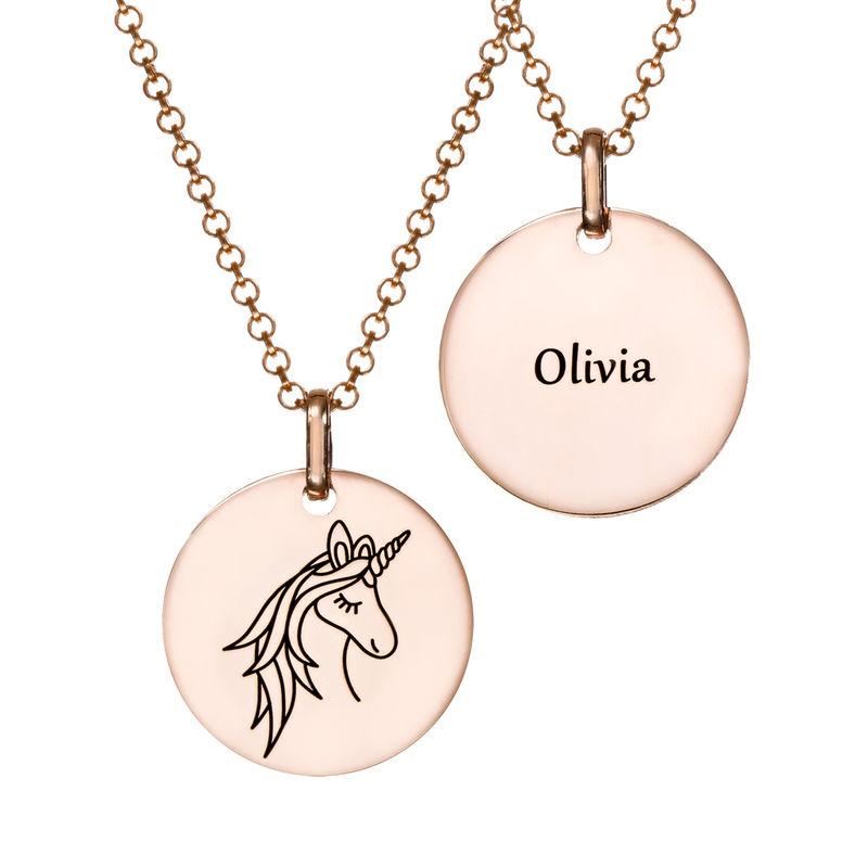Collier pendentif Licorne en Plaqué Or Rose - 2