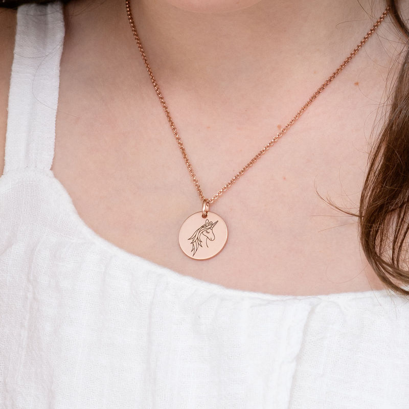 Collier pendentif Licorne en Plaqué Or Rose - 4