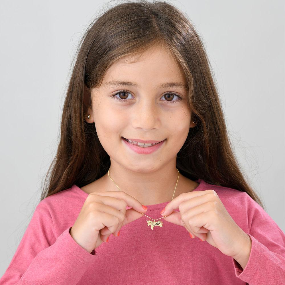 Collier Licorne fille en Or Jaune 10 carats avec zircon cubique - 3